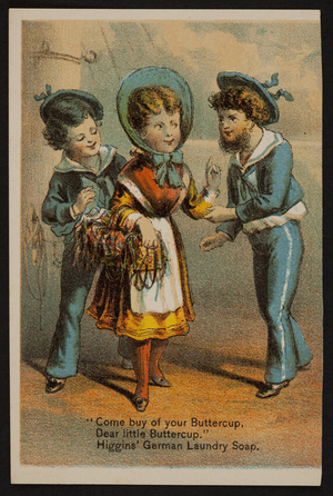 Trade cards for Higgins' German Laundry Soap, Chas S. Higgins, 94 Wall Street, New York, New York, 1880