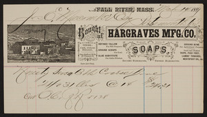 Billhead for Hargraves Mfg. Co., soaps, Fall River, Mass., dated March 14, 1889