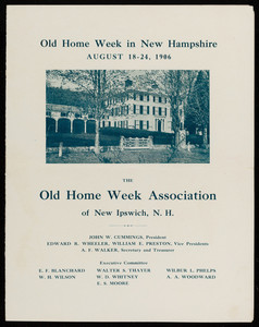 Invitation, Old Home Week in New Hampshire, August 18-24, 1906, Old Home Week Association of New Ipswich, N.H.