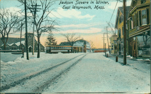 Jackson Square in winter, East Weymouth, Mass.