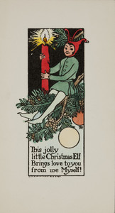 Christmas card, showing elf with candle, ca. 1915