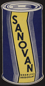 Business card for Sanovan Odorless Deodorant, Cosmos Chemical Corp., 81 Washington Street, Boston, Mass., undated