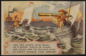 Trade card for Agate Iron Ware, for sale by Morey & Smith, 49 & 51 Haverhill Street, Boston, Mass., undated