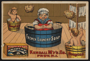 Trade card for Soapine French Laundry Soap, Kendall Mfg. Co., Providence, Rhode Island, undated