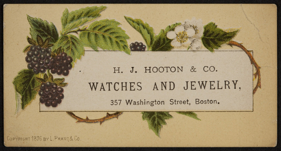 Trade card for H.J. Hooton & Co., watches and jewelry, 357 Washington Street, Boston, Mass., 1876