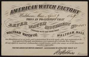 Trade card for American Watch Factory, Waltham Watch Co., Waltham, Mass., dated April 9, 1869