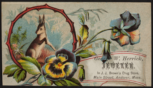 Trade card for George W. Herrick, watches, clocks, jewelry, J.J. Brown's Drug Store, Main Street, Andover, Mass., undated