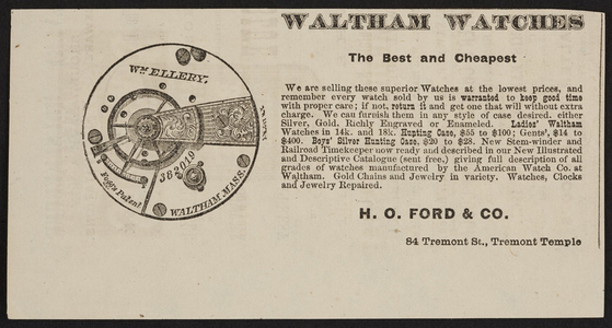 Advertisement for Waltham Watches, H.O. Ford & Co., 84 Tremont Street, Tremont Temple, Boston, Mass, undated