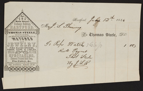 Billhead for Thomas Steele, watches and jewelry, 195 Main Street, Hartford, Connecticut, dated July 12, 1846