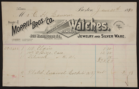 Billhead for Morrill Bros. and Co., watches, diamonds, jewelry and silver ware, 403 Washington Street, Boston, Mass., dated June 25, 1890