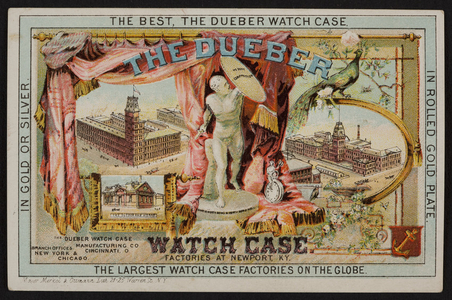 Trade card for Dueber Watch Case, T. Dunlap, dealer in watches, clocks and jewelry, 959 Elm Street, Manchester, New Hampshire, undated