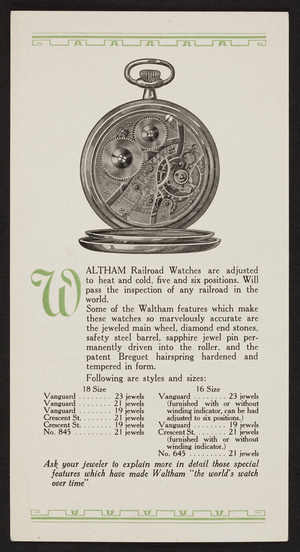 Waltham Railroad Watches, A. H. Pond Co. Inc., 214 S. Warren Street, Syracuse, New York, undated