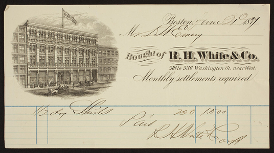 Billhead for R.H. White & Co., 518 to 536 Washington Street near West, Boston, Mass., dated June 1, 1877