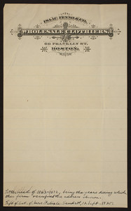 Letterhead for Isaac Fenno & Co., wholesale clothiers, 66 Franklin Street, Boston, Mass., 1863-1872