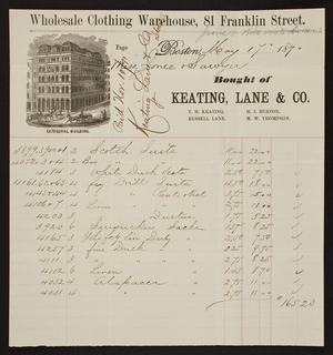 Billhead for Keating, Lane & Co., clothing, 81 Franklin Street, Boston, Mass., dated May 17, 1871