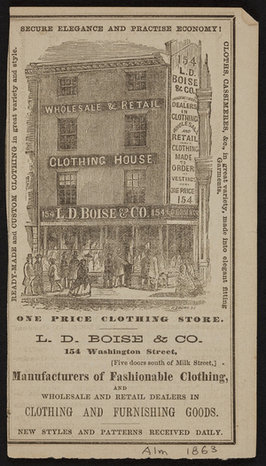 Advertisement for L.D. Boise & Co., clothing, 154 Washington Street, Boston, Mass., ca.1863