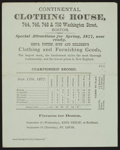 Trade card for Continental Clothing House, clothing and furnishing goods, 744, 746, 748 & 750 Washington Street, Boston, Mass., 1877