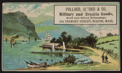 Trade card for Pollard, Alford & Co., military and regalia goods, 104 Tremont Street, Boston, Mass., ca. 1880