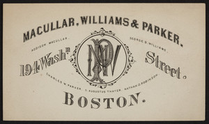 Trade card for Macullar, Williams & Parker, clothing, 194 Washington Street, Boston, Mass., undated