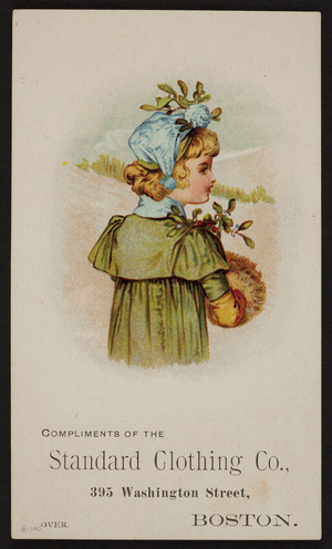 Trade card for Standard Clothing Co., 395 Washington Street, Boston, Mass., ca.1888
