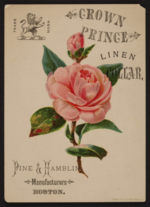 Trade card for Crown Prince Linen Collar, Pine & Hamblin manufacturers, Boston, Mass., 1879