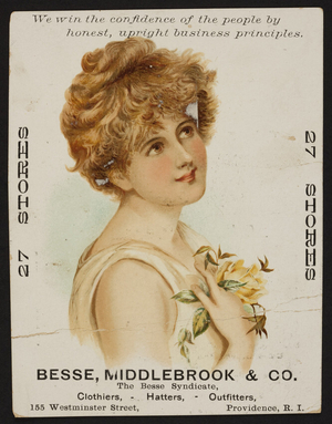 Trade card for Besse, Middlebrook & Co., clothiers, hatters, outfitters, 155 Westminster Street, Providence, Rhode Island, undated