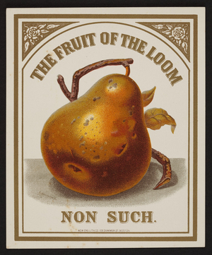 Trade card for The Fruit of the Loom, New Eng. Lith. Co., 109 Summer Street, Boston, Mass., undated
