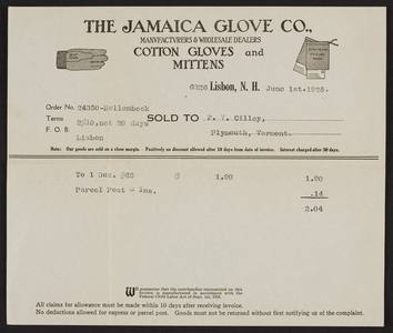 Trade card for The Jamaica Glove Co., cotton gloves and mittens, Lisbon, New Hampshire, dated June 1, 1925