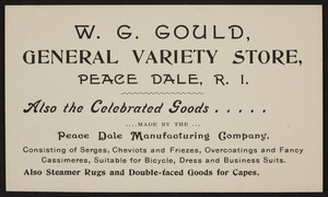Trade card for the W.G. Gould General Variety Store, Peace Dale, Rhode Island, undated