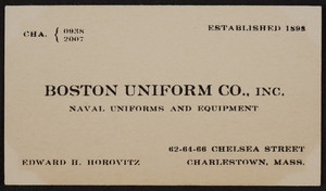 Trade card for the Boston Uniform Co., Inc., naval uniforms and equipment, 62, 64, 66, Chelsea Street, Charlestown, Mass., undated