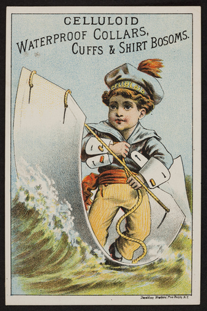 Trade card for celluloid waterproof collars, cuffs & shirt bosoms, location unkown, undated