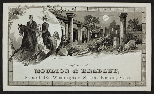 Trade card for Moulton & Bradley, clothing for men boys and children, 484 and 486 Washington Street, Boston, Mass., 1880