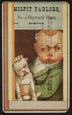 Trade card for Misfit Parlors, clothing, 4 Hayward Place, Boston, Mass., undated