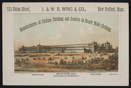 Trade card for the J. & W.R. Wing & Co., clothing, 111 Union Street, New Bedford, Mass., 1875
