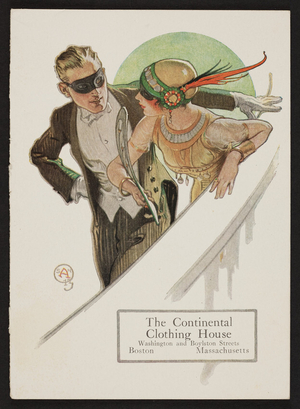 Trade card for The Continental Clothing House, Washington and Boylston Streets, Boston, Mass., undated