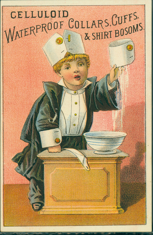 Trade card for celluloid waterproof collars, cuffs & shirt bosoms, location unknown, undated