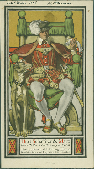 Trade card for Hart Schaffner & Marx, The Continental Clothing House, Washington and Boylston Streets, Boston, Mass., 1905