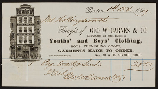 Billhead for Geo. W. Carnes & Co., youths' and boys' clothing, Nos. 43 & 45 Summer Street, Boston, Mass., dated October 1, 1869
