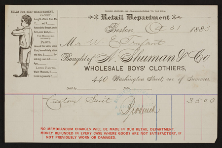 Billhead for A. Shuman & Co., wholesale boys' clothiers, 440 Washington Street corner of Summer, Boston, Mass., dated October 31, 1883
