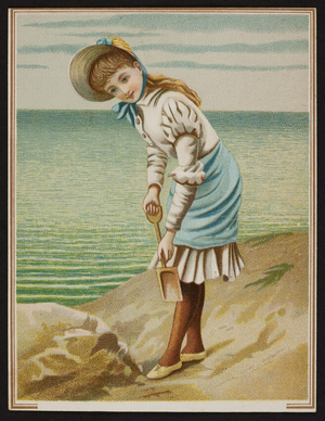 Trade card with a young girl holding a shovel, location unknown, undated