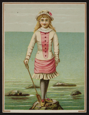 Trade card with a young girl standing on a rock, location unknown, undated