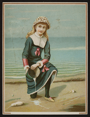 Trade card with a young girl kneeling on a beach, location unknown, undated