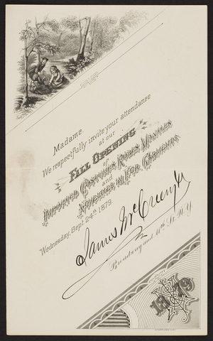 Invitation for James McGreenyth, Broadway and 11th Street, New York, New York, Wednesday, September 24, 1879