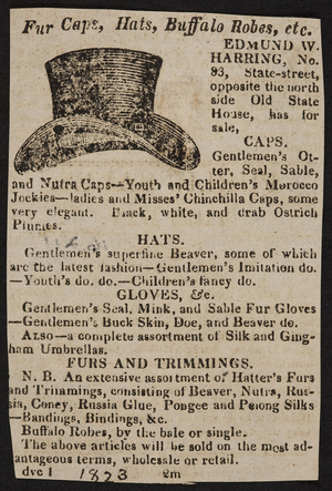 Advertisement for fur caps, hats, buffalo robes, etc., Edmund W. Harring, No.83 State Street, Boston, Mass., 1823
