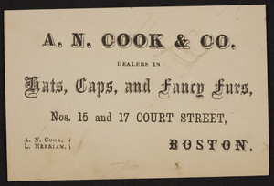 Trade card for A.N. Cook & Co., hats, caps and fancy furs, Nos.15 and 17 Court Street, Boston, Mass., undated