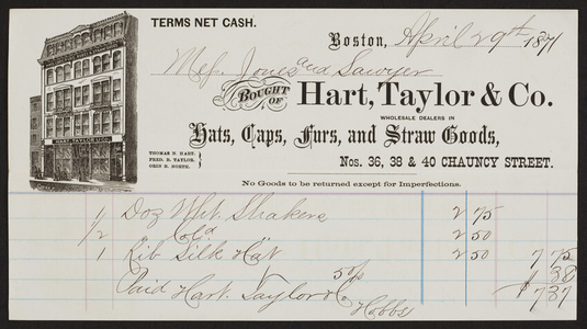 Billhead for Hart, Taylor & Co., hats, caps, furs, and straw goods, Nos. 36, 38 & 40 Chauncy Street, Boston, Mass., dated April 29, 1871