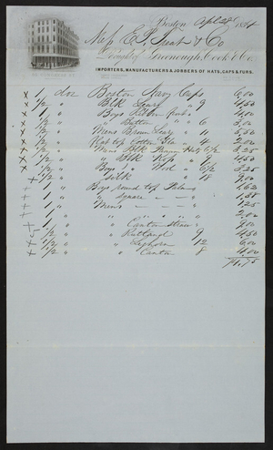 Billhead for Greenough, Cook & Co., importers, manufacturers & jobbers of hats, caps & furs, 50 Congress Street, Boston, Mass., dated April 28, 1854