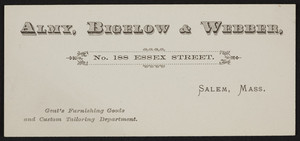 Trade card for Almy, Bigelow & Webber, gent's furnishing goods and custom tailoring department, No.188 Essex Street, Salem, Mass., undated