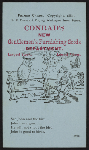 Trade card for Conrad's new Gentlemen's Furnishing Goods Department, Boston, Mass., 1880