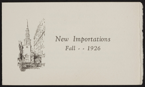 New importations, Hewins & Hollis, 4 Hamilton Place, Boston, Mass., Fall, 1926